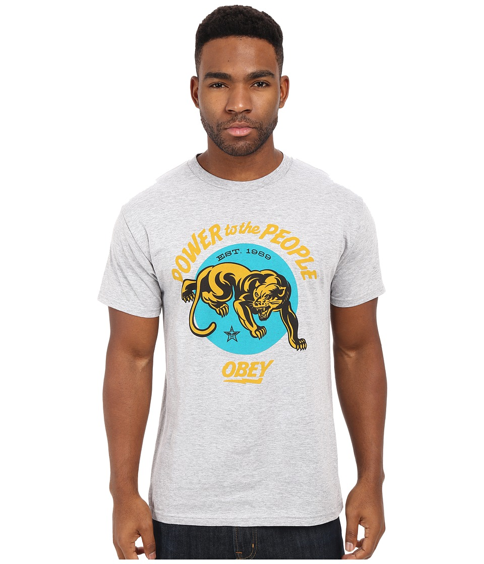 Obey Power to the People Panther Premium Tee Heather Grey Mens T Shirt