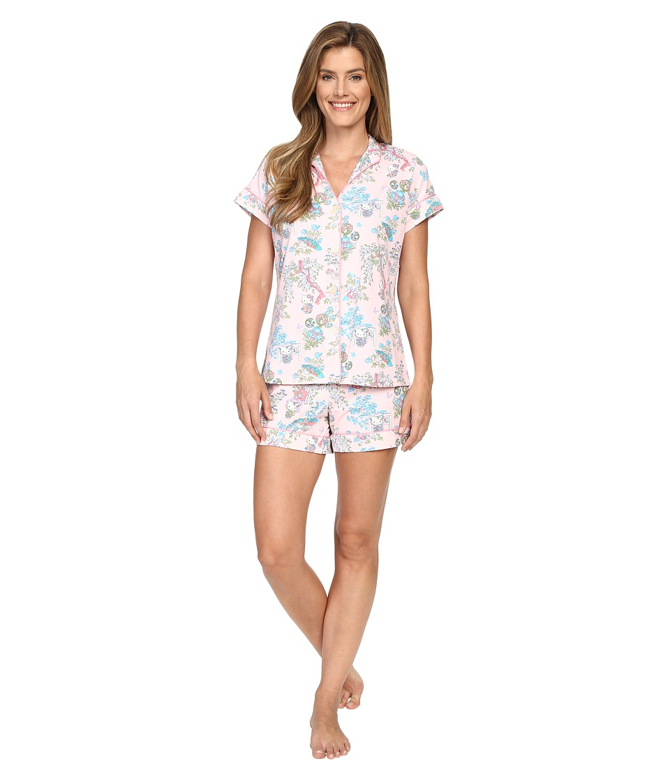 BedHead - Short Sleeve Mandarin Collar Shorty Bottom Pajama Set (Hello Kitty Geisha) Women's Pajama Sets