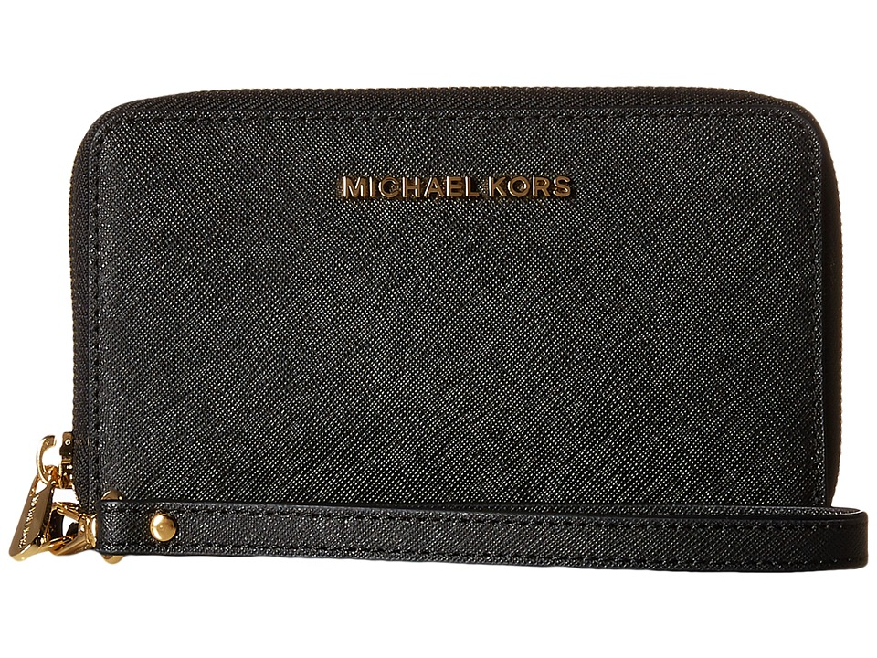 MICHAEL Michael Kors - Jet Set Travel Large Flat Multifunction Phone Case (Black) Cell Phone Case