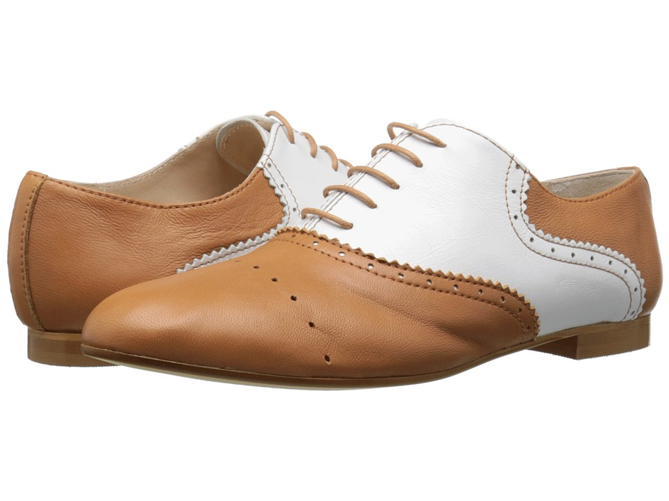 Massimo Matteo - Two-Tone Oxford CuoioBlanco Womens Lace up casual Shoes $119.00 AT vintagedancer.com