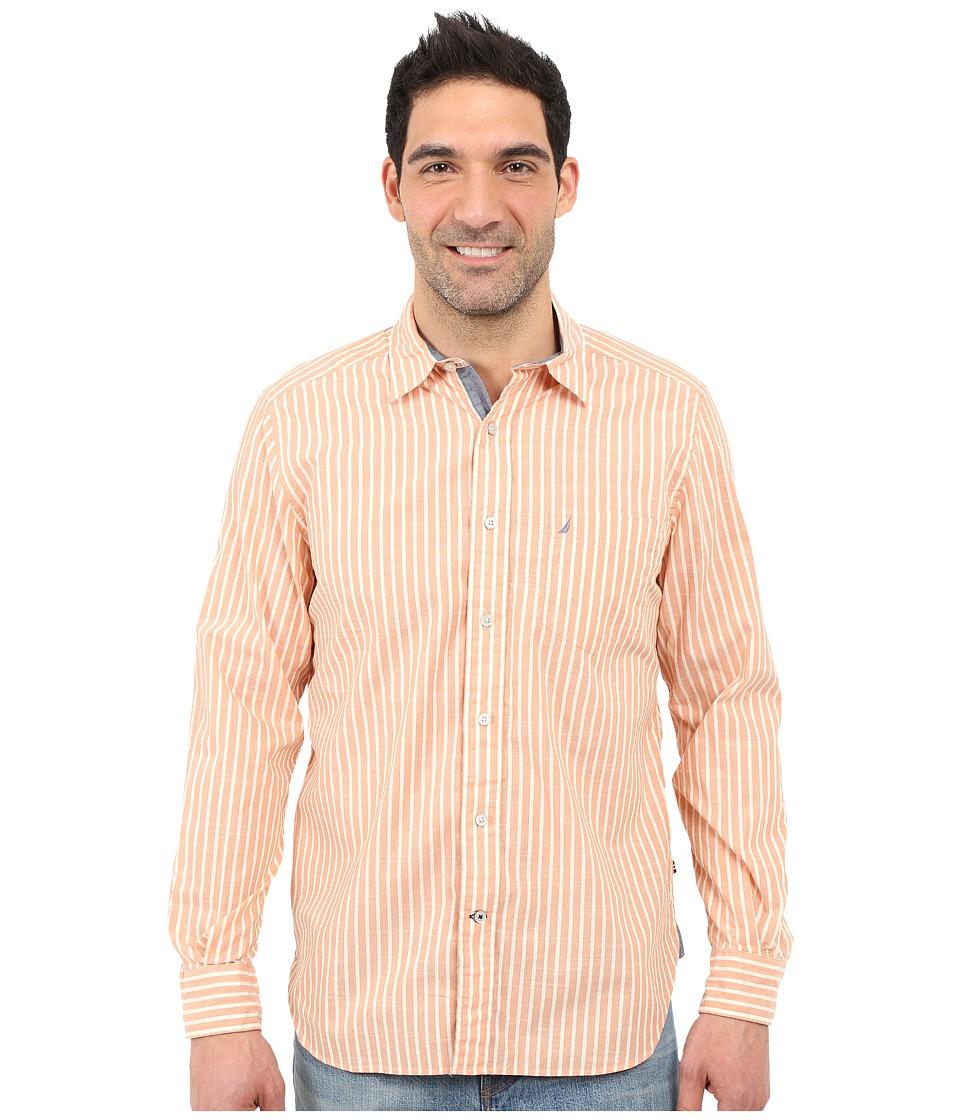 Nautica Long Sleeve Poplin Shirt Pocket Island Mango Mens Long Sleeve Button Up