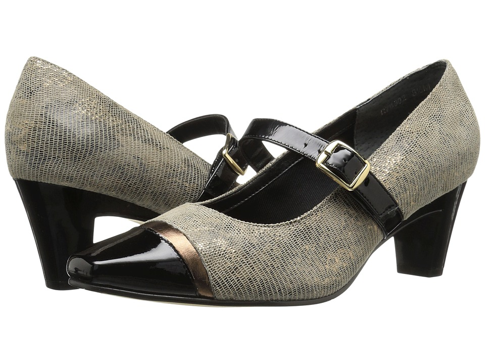 Rose Petals - Radiant (Taupe/Gold Lizard Print/Black Patent) Women