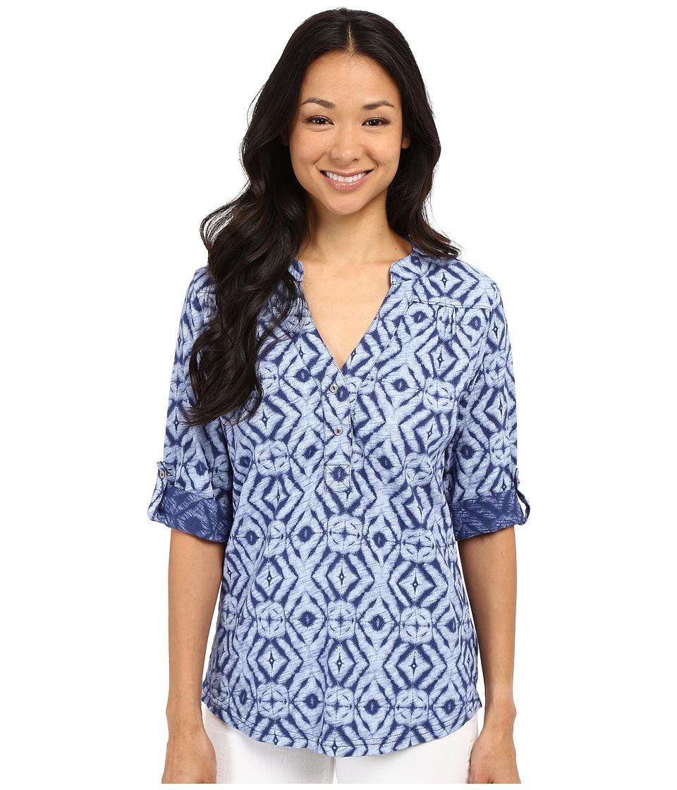 Fresh Produce Shibori Dockside Henley Moonlight Blue Womens Long Sleeve Pullover