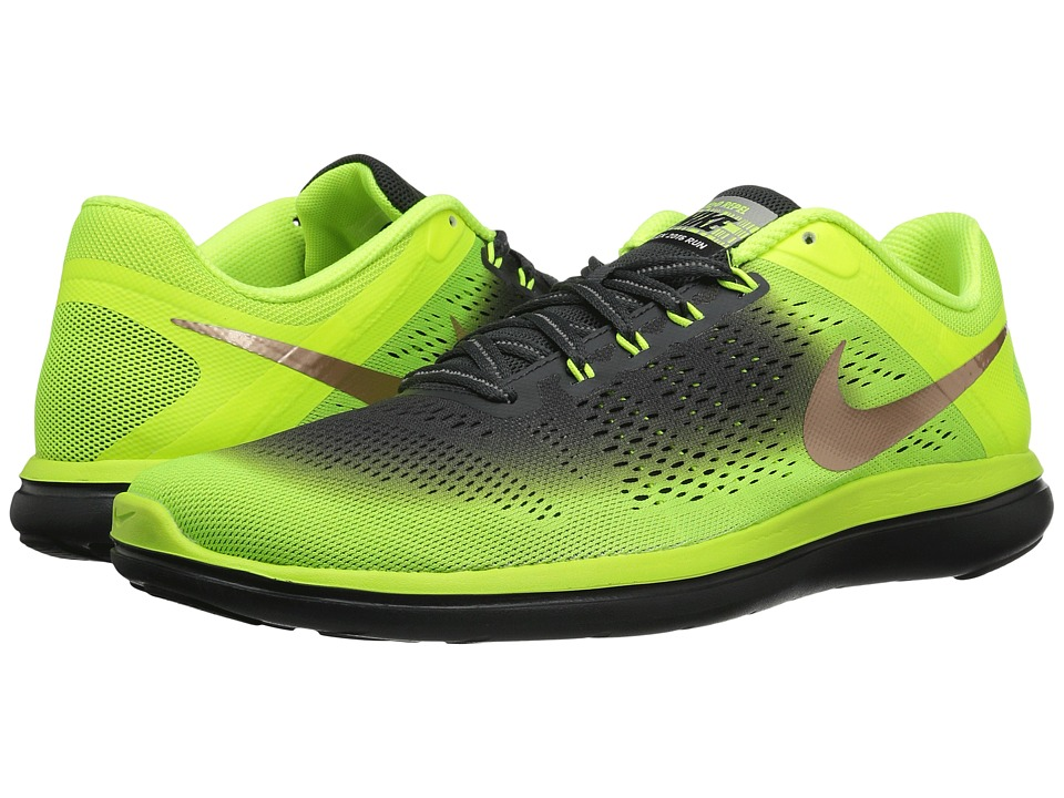 Nike - Flex 16 RN Shield (Volt/Metallic Red Bronze/Anthracite/Black) Mens Running Shoes