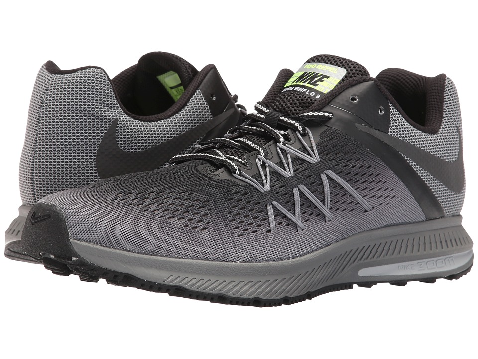 Nike - Air Zoom Winflo 3 Shield (Black/Black/Cool Grey/Wolf Grey) Mens Running Shoes
