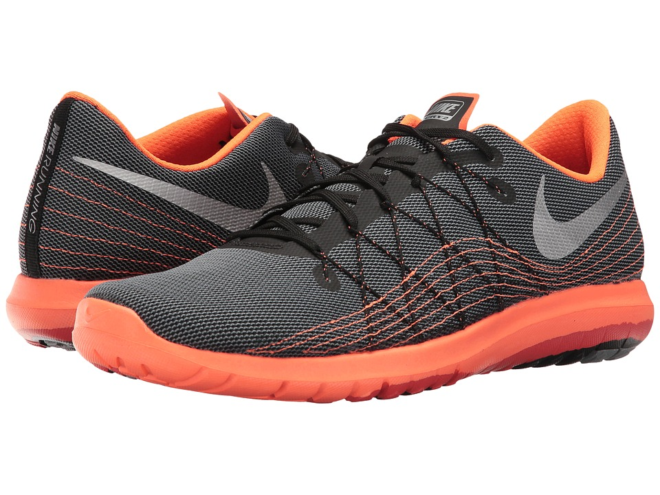 Nike Flex Fury 2 (Black/Metallic Silver/Charcoal Grey/Total Orange) Men