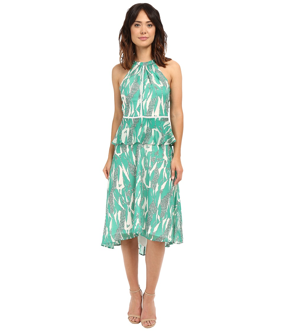 Adelyn Rae Midi Printed Peplum Dress Green Womens Dress