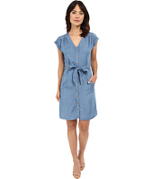 Sangria - Short Sleeve Chambray Shift Dress
