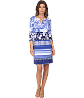 Sangria - 3/4 Sleeve Mixed Print Jersey Shift Dress