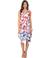 Sangria - Floral Print Hankerchief Hem Fit & Flare Dress