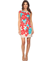 Sangria - Extended Sleeve Floral Print Sheath Dress