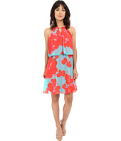Sangria - Floral Print Chiffon Pop Over Fit & Flare Dress