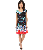 Sangria - Short Sleeve Floral Print Scuba Fit & Flare Dress