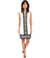 Sangria - Lace Shift Dress w/ Contrast Panel Detail