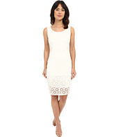 Sangria - Solid Scuba Sheath Dress w/ Laser Cut Hem Detail