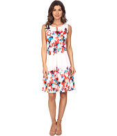 Sangria - Split Neck Floral Print Fit & Flare Dress