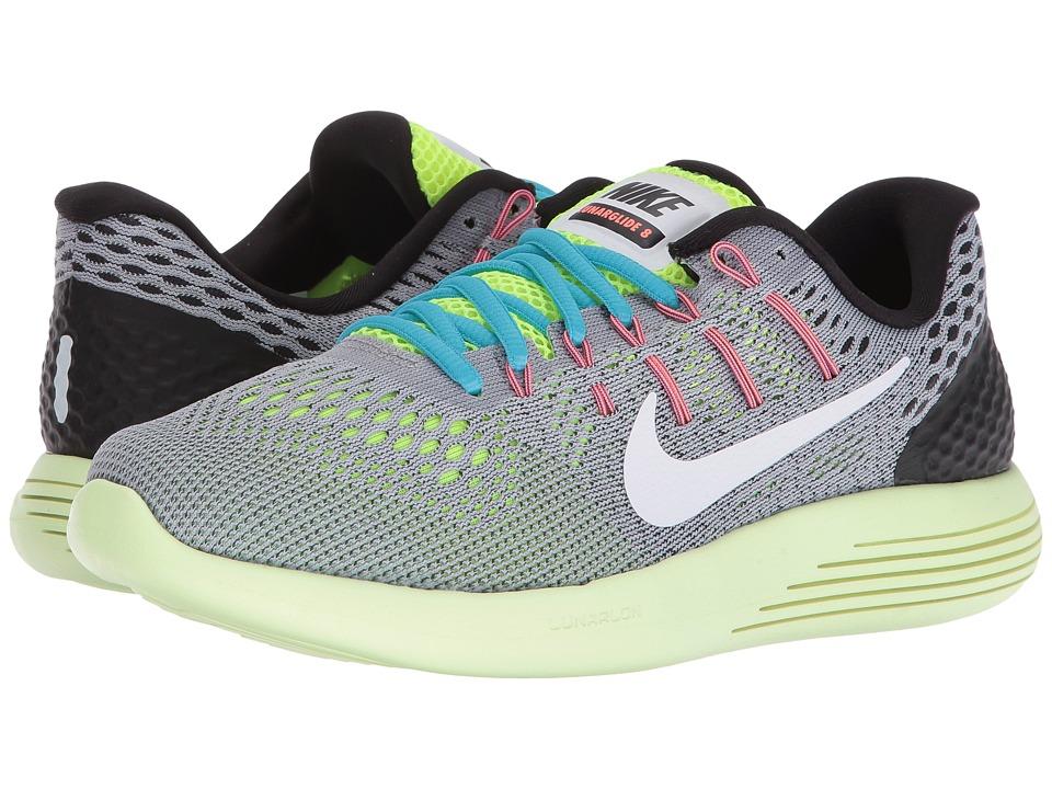 Nike - Lunarglide 8 (Wolf Grey/Volt/Gamma Blue/White) Womens Running Shoes