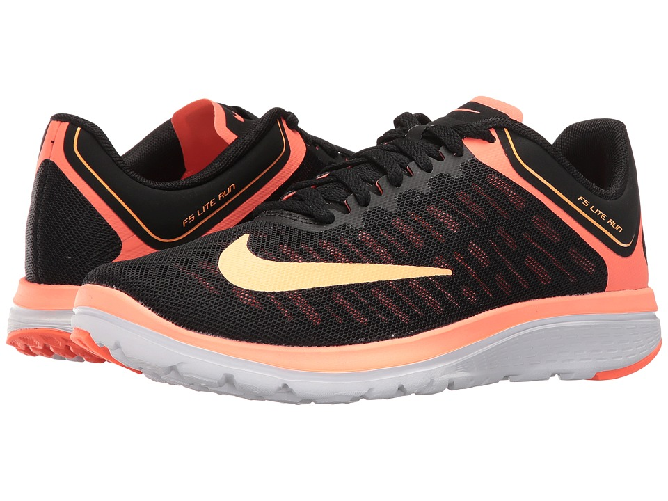 Nike - FS Lite Run 4 (Black/Bright Mango/White/Peach Cream) Womens Shoes