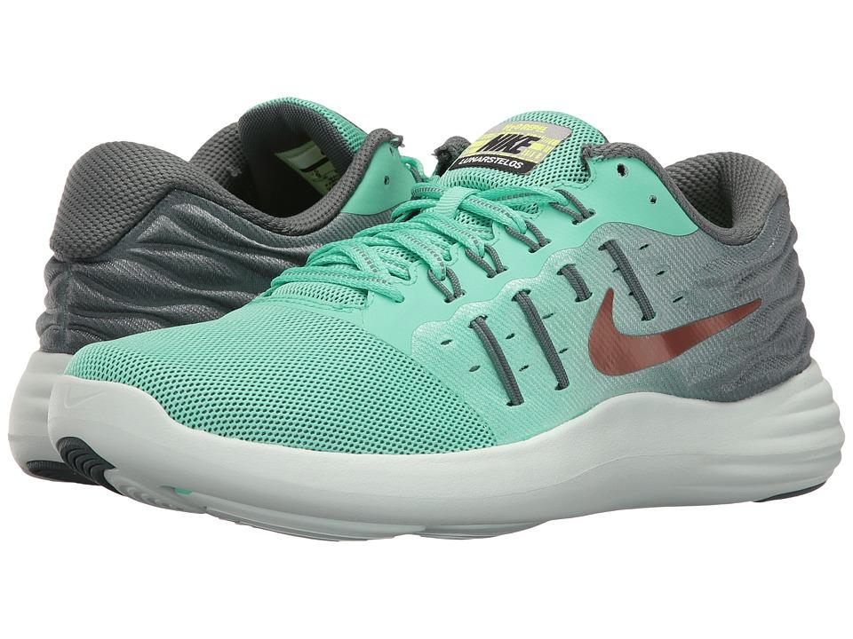 Nike - LunarStelos Shield (Green Glow/Hasta/Barely Green/Metallic Red Bronze) Womens Running Shoes