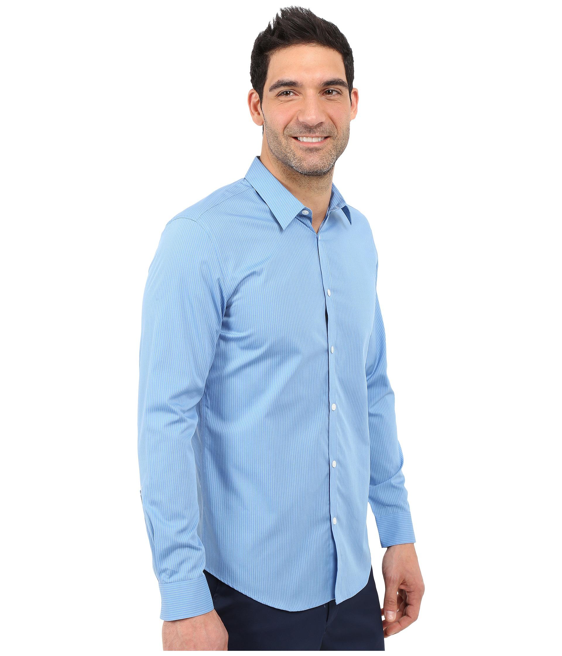 Calvin klein infinite cool slim fit pinstripe shirt for Calvin klein x fit dress shirt