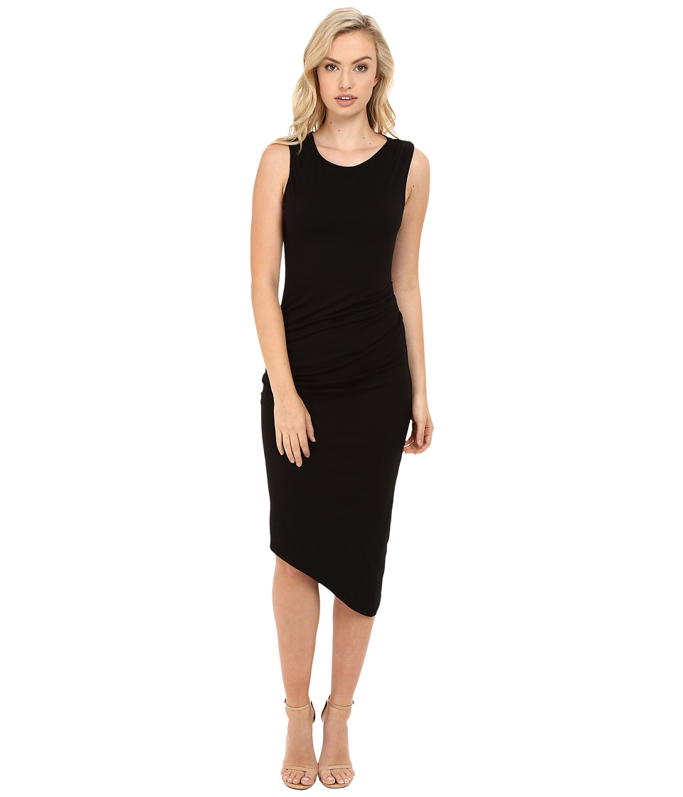 Michael Stars Ruched Midi Tee Dress (Black) Women