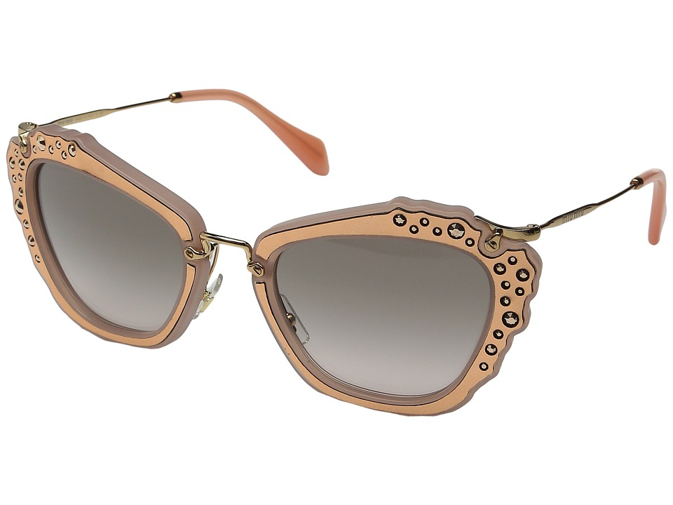 Miu Miu 0MU 04QS Rose Gold/Grey Gradient Fashion Sunglasses