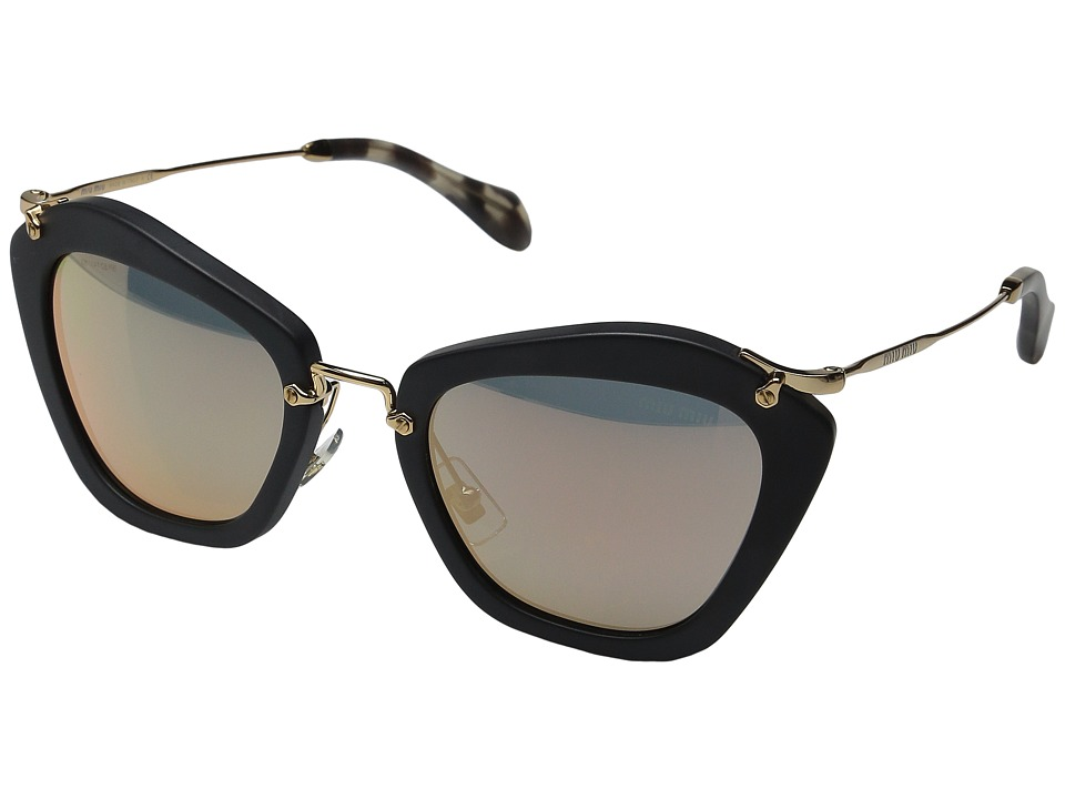 Miu Miu 0MU 10NS Black/Rose Gold Mirror Fashion Sunglasses