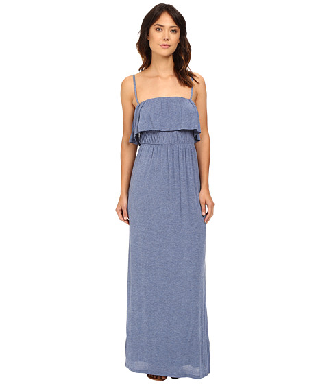 Splendid - Drapey Lux Ruffle Maxi Dress (Chambray) Women's Dress
