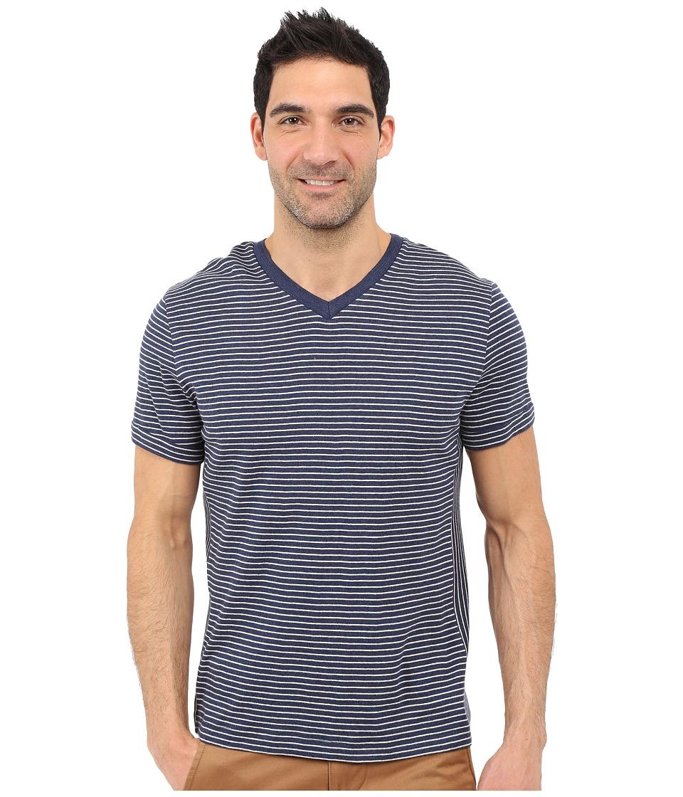 Nautica Short Sleeve Stripe Block V Neck Ocean Indigo Heather Mens Short Sleeve Pullover