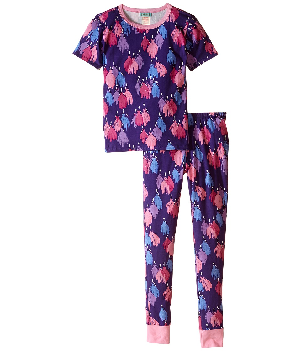 BedHead Kids Short Sleeve Long Bottom Pajama Set Big Kids Purple Bell of the Ball Girls Pajama Sets