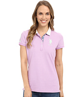 U.S. POLO ASSN. - Short Sleeve Geometric Print Pique Polo Shirt