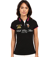 U.S. POLO ASSN. - Embellished Quilted Shoulder Polo Shirt