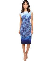 Maggy London - Ombre Batik Printed Scuba Sheath Dress with Cap Sleeve