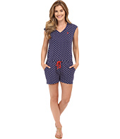 U.S. POLO ASSN. - Short Sleeve Dot Print V-Neck Romper