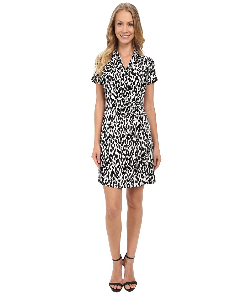 Karen Kane Cascade Wrap Dress Black 2 Womens Dress