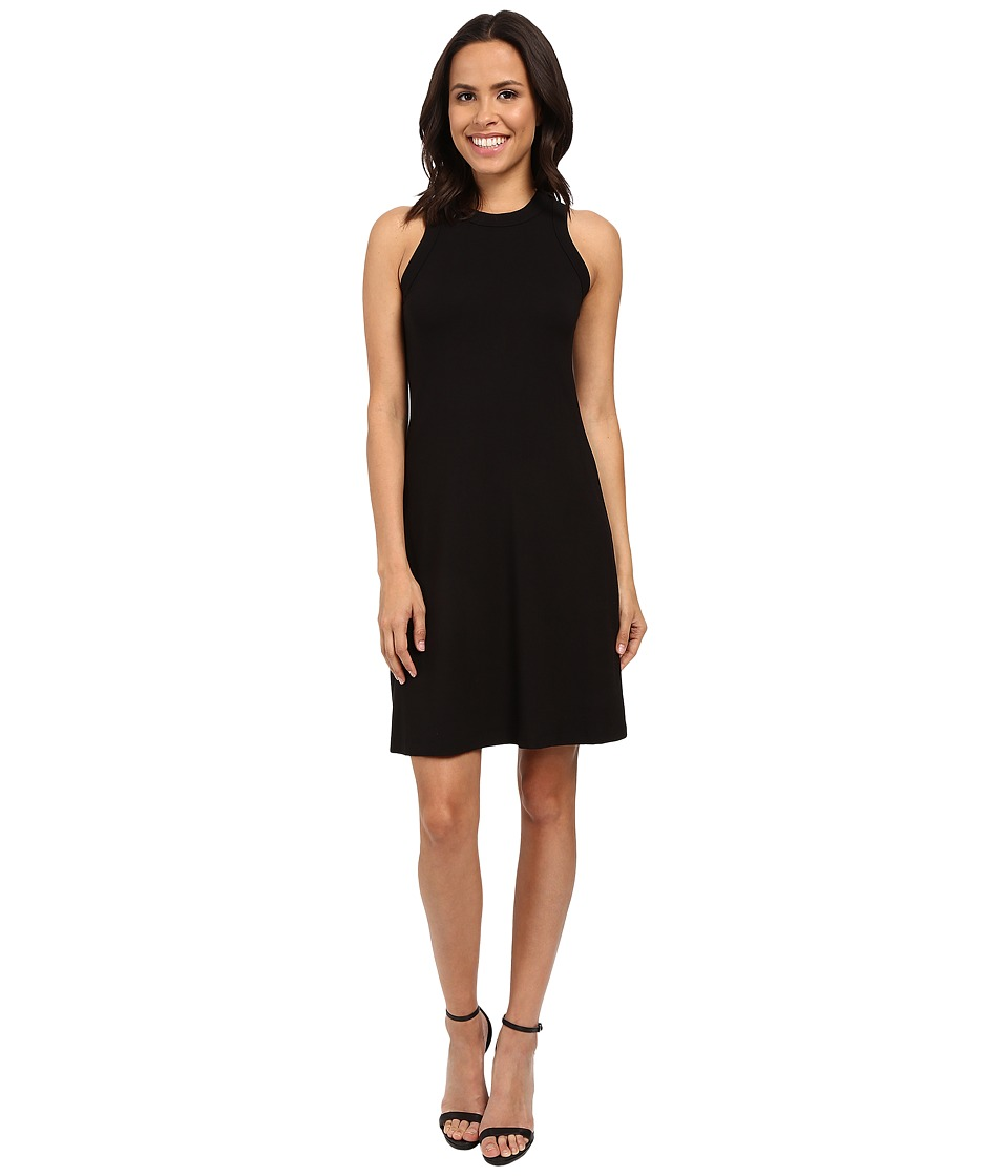 Karen Kane Hi Neck A-Line Dress (Black) Women