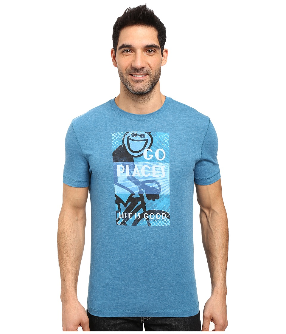 Life is good Go Places Jake Overlay Cool Tee (Denim Blue) Men