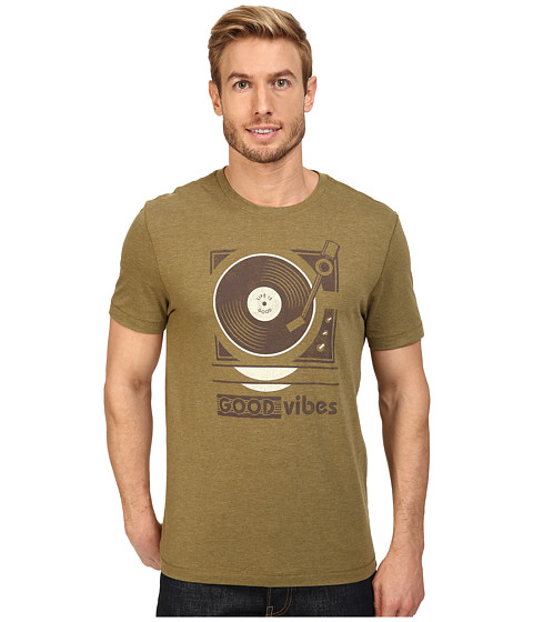 Life is good Good Vibes Record Player Cool Tee - Woodland Green