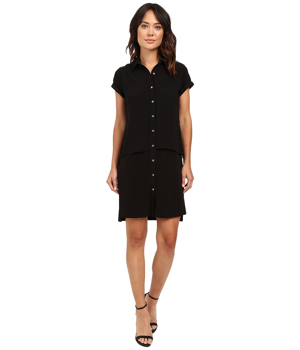 Calvin Klein Double Layer Dress Black Womens Dress