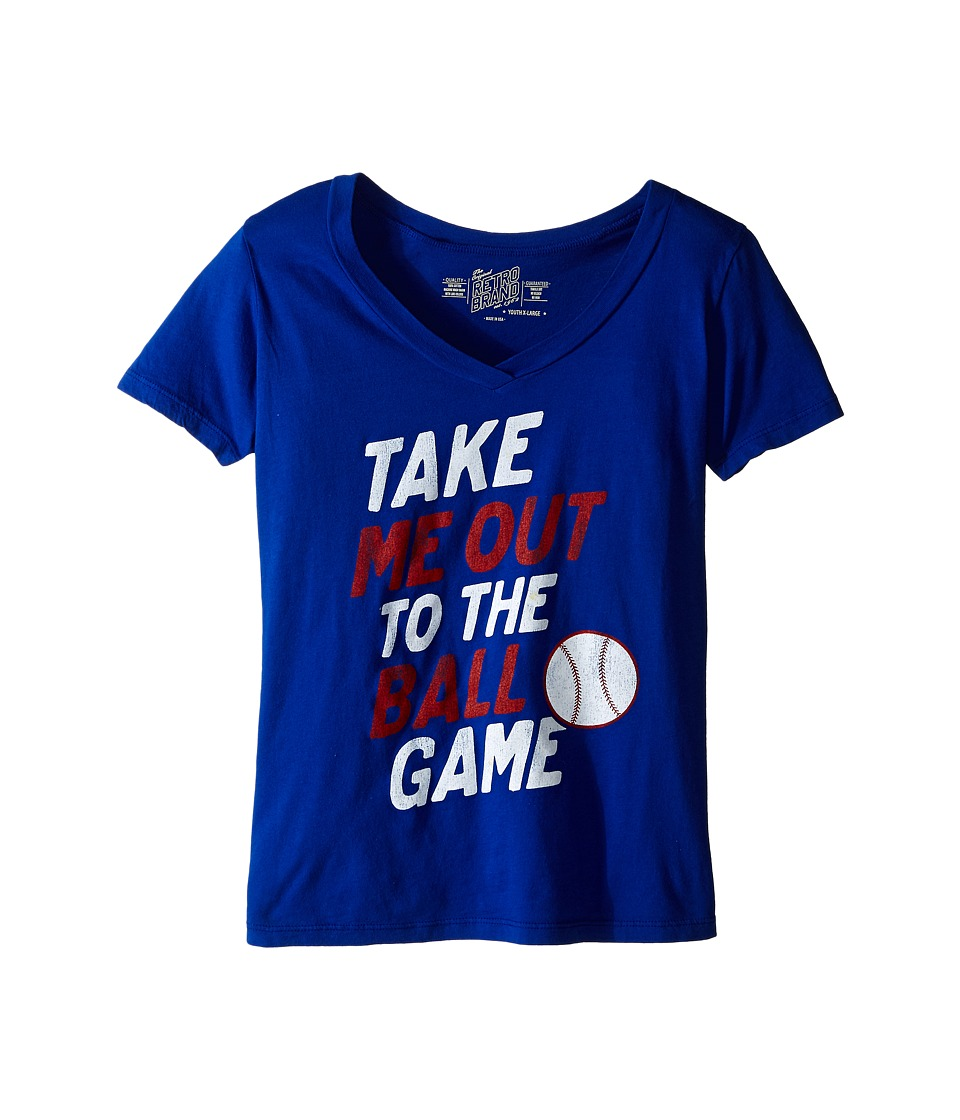 The Original Retro Brand Kids Take Me Out To The Ballgame V Neck Tee Little Kids/Big Kids Royal Girls Short Sleeve Pullover