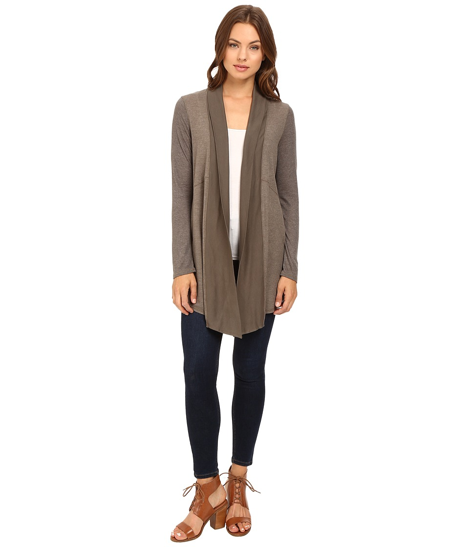 Splendid - Heathered Thermal Cardigan (Military Olive) Women