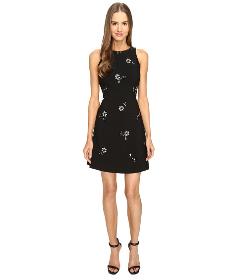 Kate Spade New York Scattered Brooch Crepe Dress