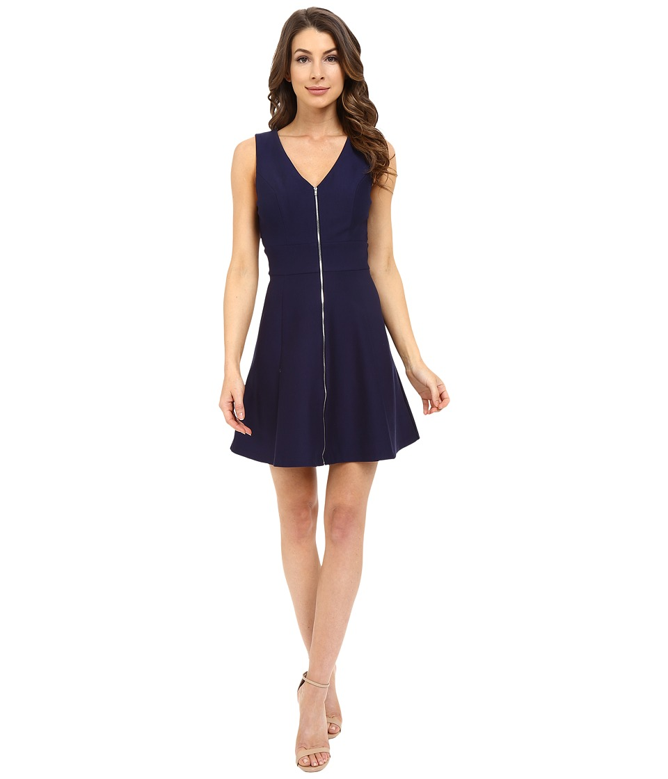Adelyn Rae Fit Flare Dress w/ Front Zipper Navy Womens Dress