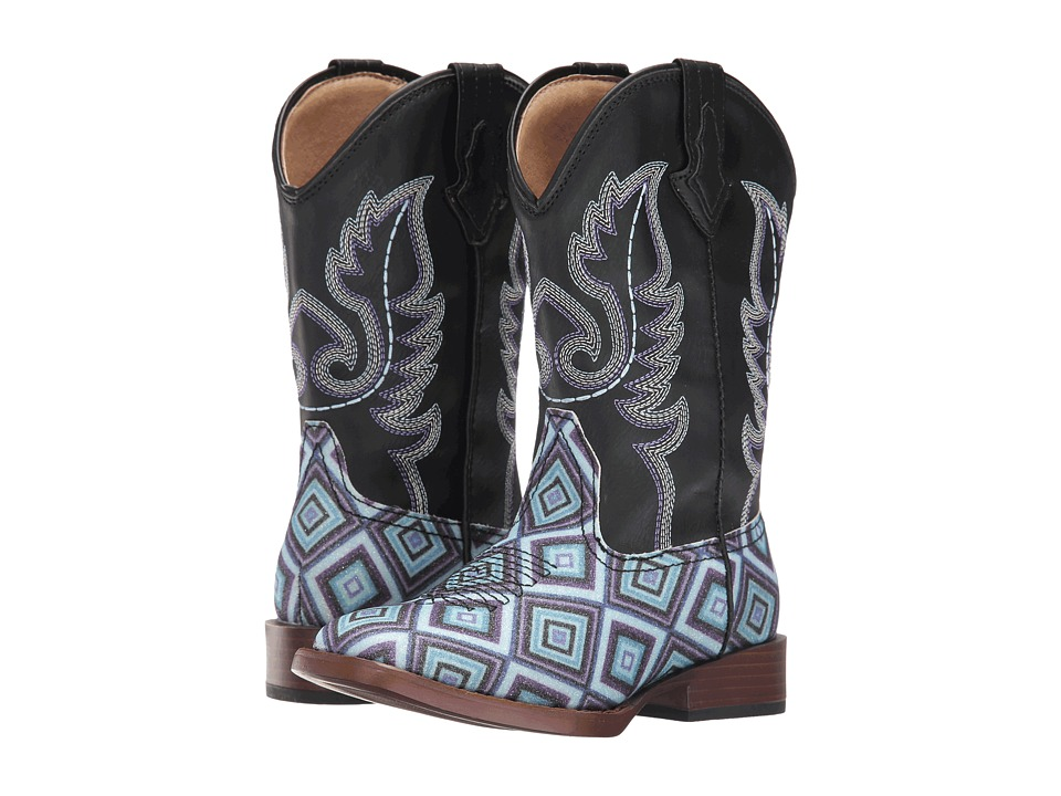 Roper Kids Glitter Diamonds (Toddler/Little Kid) (Diamond Glitter Faux/Vamp Black Shaft) Cowboy Boots