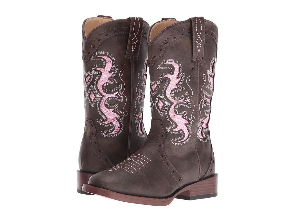 Roper Kids Lexi (Toddler/Little Kid) (Brown Faux Leather/Vamp Pink Insert Shaft) Cowboy Boots