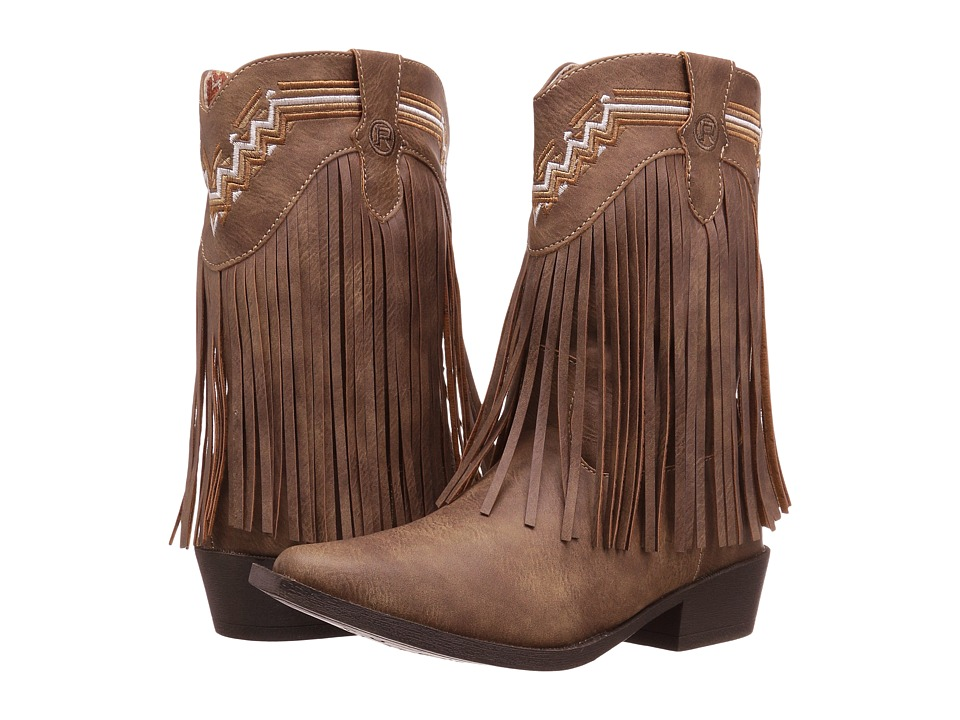 Roper Kids Fringes (Toddler/Little Kid) (Brown Faux Leather/Vamp Fringe Shaft) Cowboy Boots