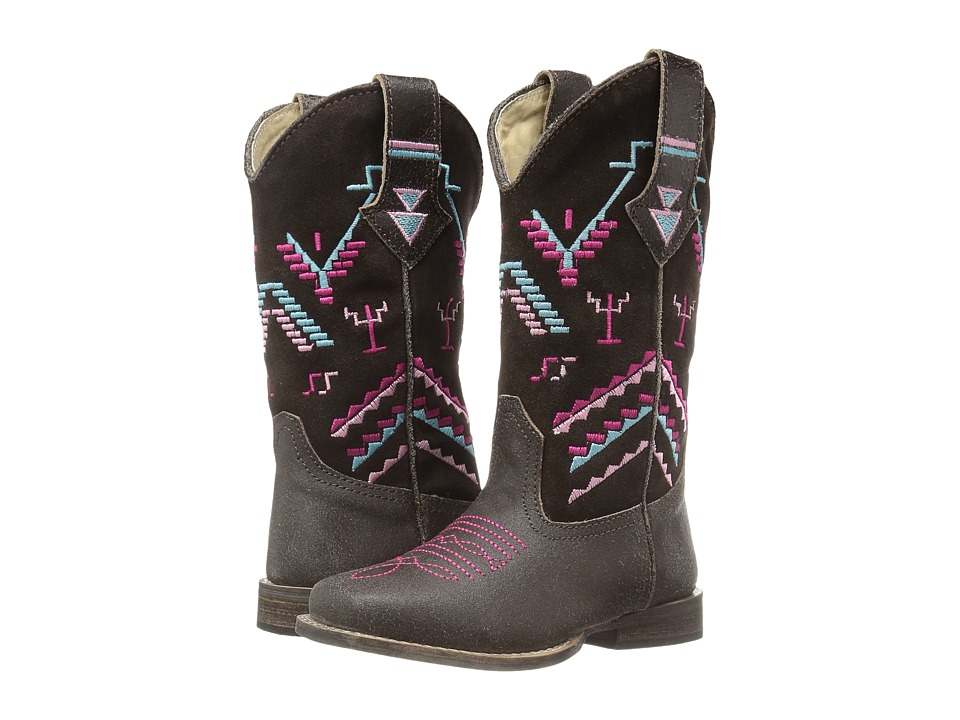 Roper Kids Hunter (Toddler/Little Kid) (Brown Suede Vamp/Aztec Embroidered Shaft) Cowboy Boots