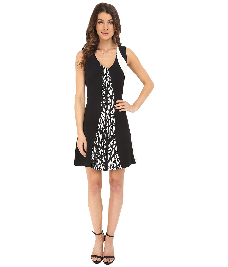 Adelyn Rae Color Block Printed Dress Black/Ivory Womens Dress