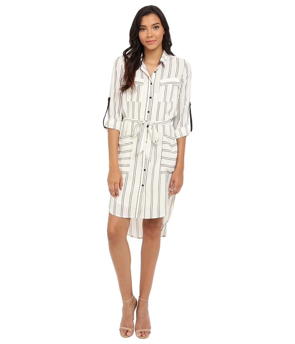 Adelyn Rae Stripe Shirt Dress Ivory/Black Womens Dress