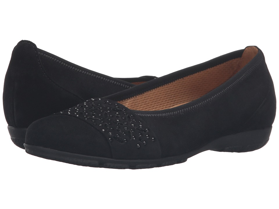 Gabor - Gabor 54.160 (Black Samtchevreau) Womens Flat Shoes